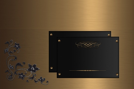 Gold nameplate with floral ornament  photo