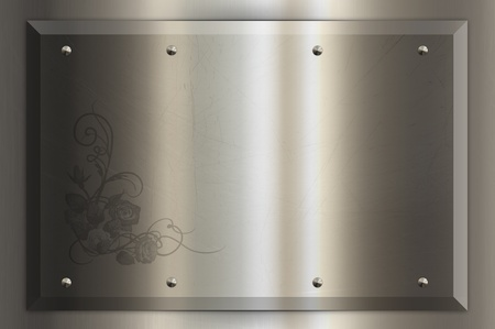 Chrome nameplate with decorative pattern