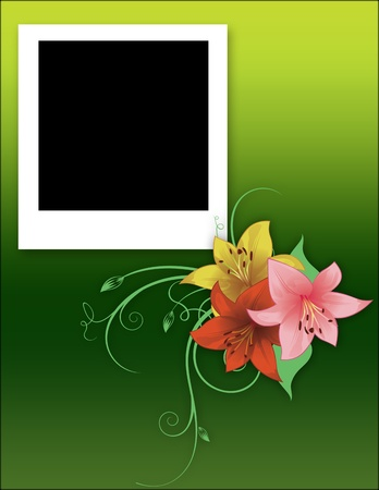 Scrapbook Frame with flowers  photo