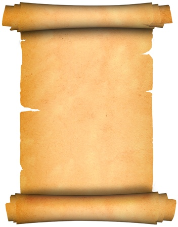 Scroll of antique parchment  Isolated on a white background
