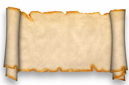 Scroll of parchment  Isolated on a white background  photo