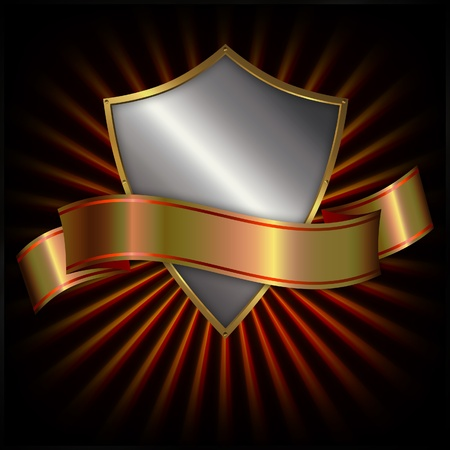 Shield and gold ribon  Stock Photo