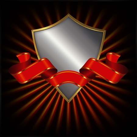 Shield and red ribbon Stock Photo - 13064869
