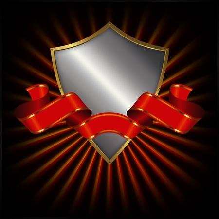 Shield and red ribbon  photo