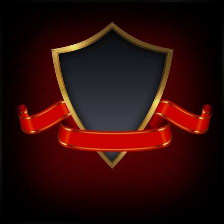 Shield and red ribbon on a grunge background  Stock Photo - 13064865