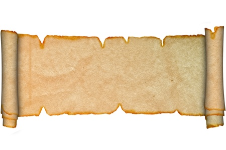 Scroll of parchment  Isolated on a white background