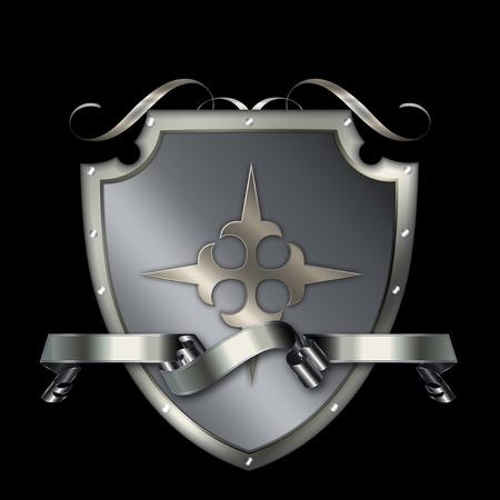 Silver shield with a shiny silver ribbon Stock Photo - 13169097