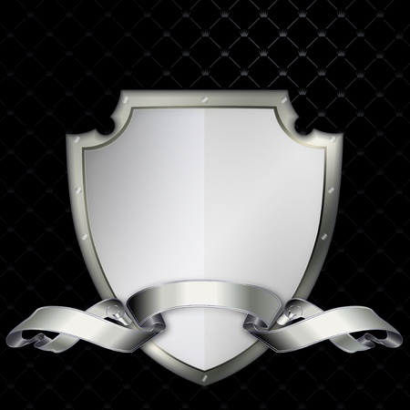 Silver shield with a shiny silver ribbon Stock Photo - 13169104