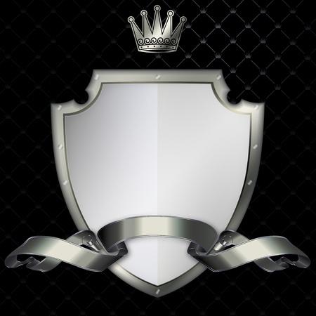 Silver shield with a shiny silver ribbon  Standard-Bild