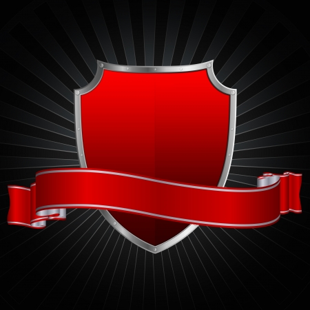 Silver red shield and silver red ribbon on a grunge background