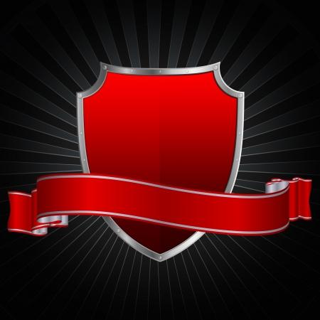 Plata escudo rojo y plata cinta roja sobre un fondo grunge Foto de archivo - 13169100