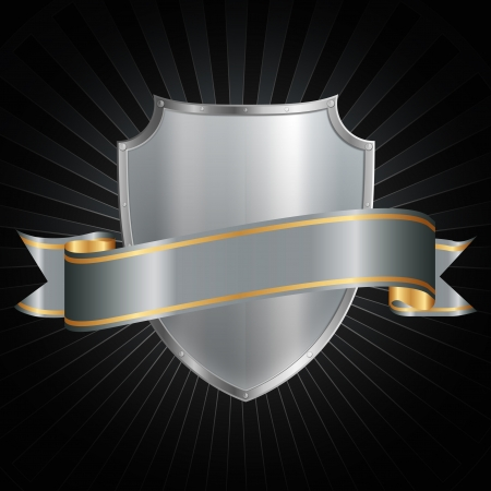 Silver shield with a shiny silver ribbon on a grunge background