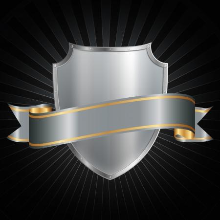 coverbook: Argento scudo con un nastro d'argento lucido su uno sfondo grunge