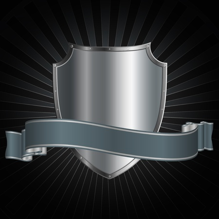 Riveted shield and shiny silver ribbon on a grunge background  Stock Photo