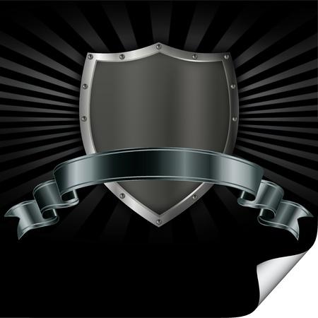 De hierro con remaches escudo con una cinta de plata Foto de archivo - 13169105