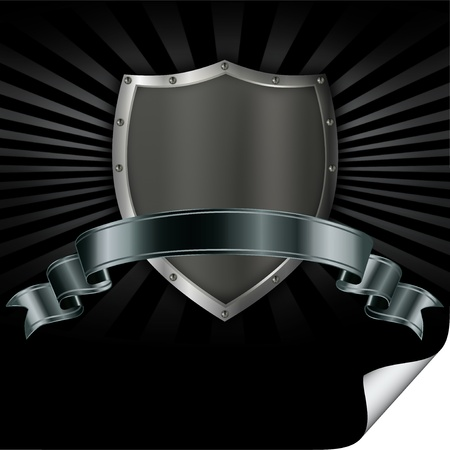 shield logo: Riveted iron shield with a silver ribbon