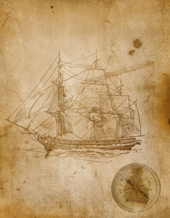 ancient ships: Grunge paper background  Stock Photo