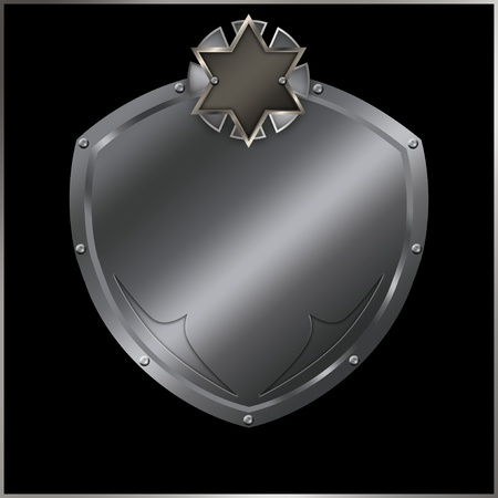 Riveted silver shield with symbol on a black background