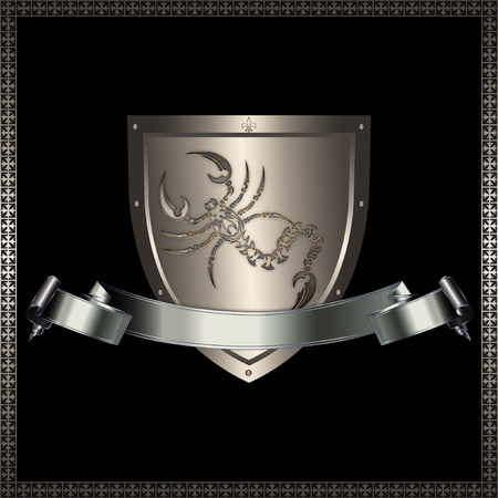 Silver shield with image of scorpion and silver ribbon
