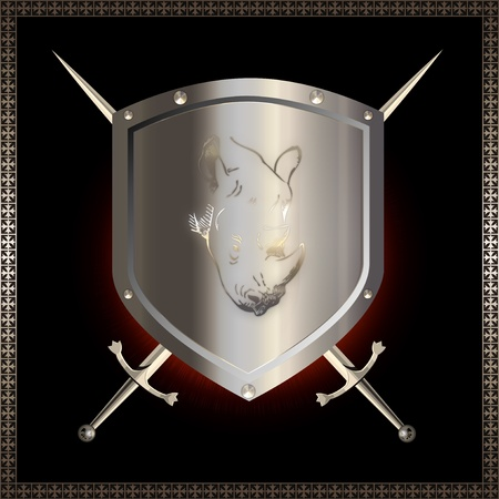 Silver shield with image of rhino and swords