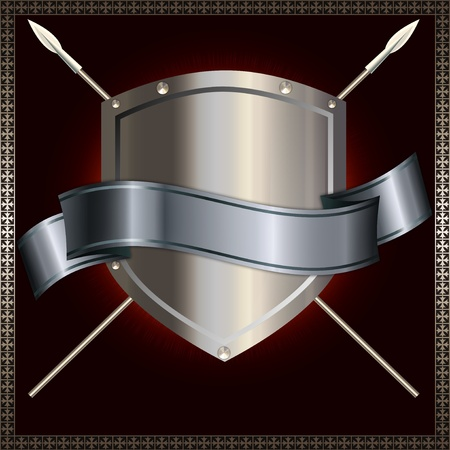 Silver shield with spears and silver ribbon  photo