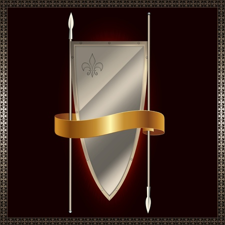 Shield with spears and gold ribbon  photo