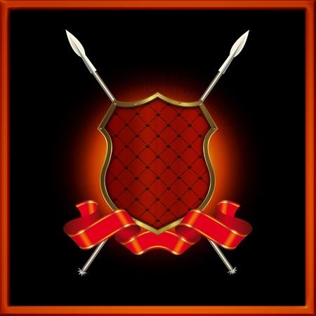 Red escudo con las lanzas y cinta roja Foto de archivo - 13326905