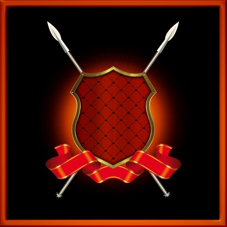 Red shield with spears and red ribbon  Stock Photo