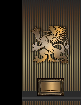 coverbook: Vintage background con il leone d'oro per la progettazione del testo