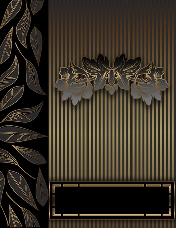 Golden floral background for the design of text  photo