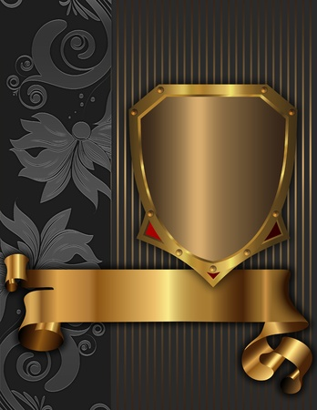 Old fashioned decorative background with golden shield and gold ribbon  写真素材