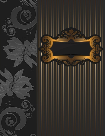 Silver floral background with  golden ornate frame  photo