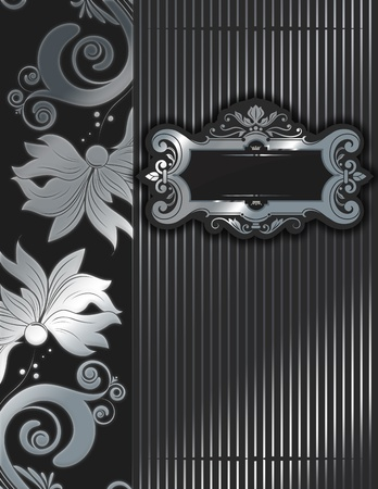 old fashioned menu: Silver floral background with  ornate frame