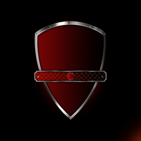 Silver red shield with banner for the design of your logo