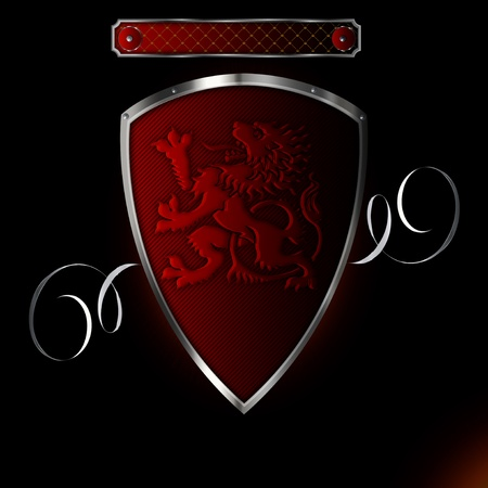 Silver red riveted shield with image of heraldic lion Stock Photo - 13327190