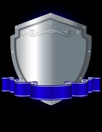 iron ribbon: Riveted silver shield with decoration and bleu elegant ribbon on a black background