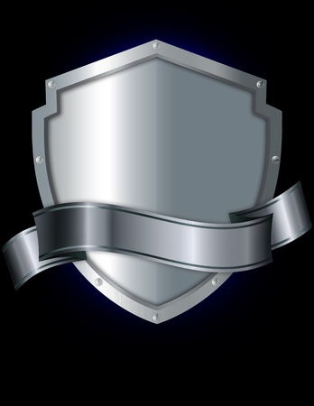 Silver shield and silver ribbon on a black background Standard-Bild