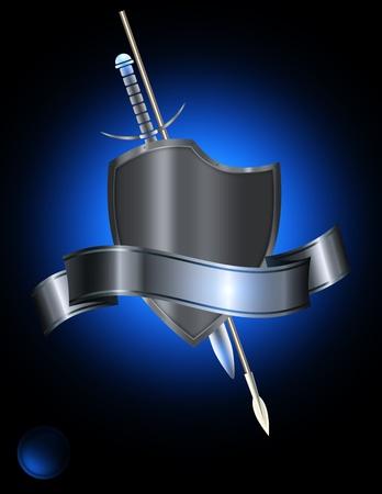 espadas medievales: Resumen de antecedentes con la plata de la cinta remachada escudo y la plata