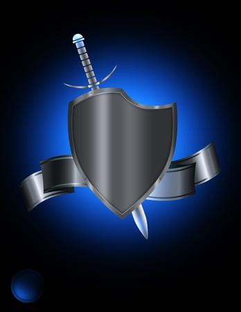 rivets: Abstract silver riveted shield and silver ribbon