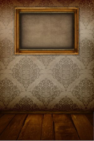 Old wooden frame on the vintage wall Stock Photo - 13528592