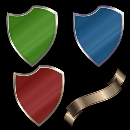 Shields set. Isolated on a black background.