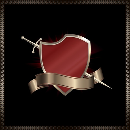 riveted: Decorative riveted shield with swords and  ribbon. Stock Photo