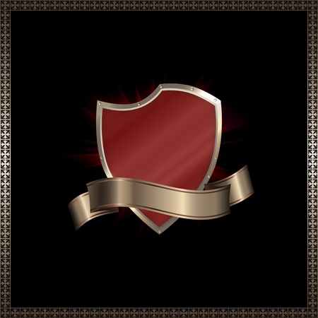 Red shield and ribbon. Stock Photo