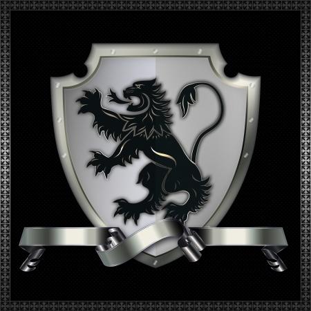 Plata remachado escudo con la imagen de león heráldico y la cinta de plata Foto de archivo - 13697912