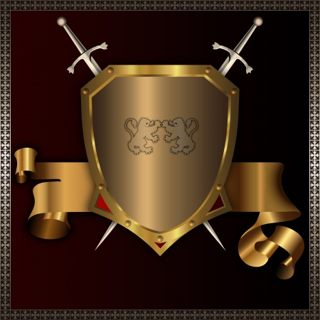 shield logo: Riveted golden shield with swords and golden ribbon  Stock Photo