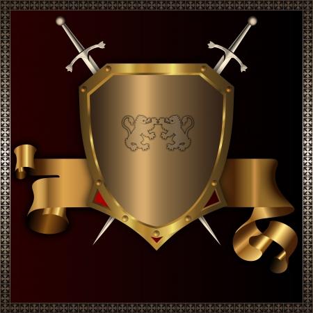 coverbook: Rivettato scudo d'oro con spade e nastro dorato