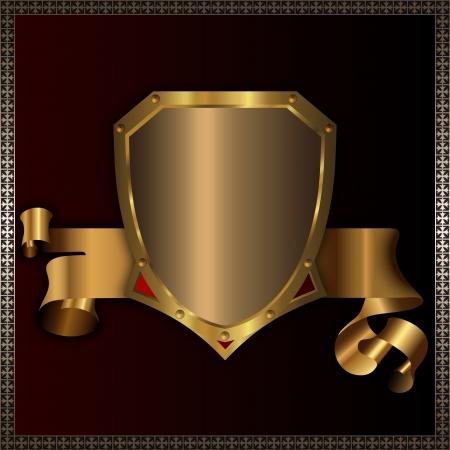 Golden shield and golden ribbon