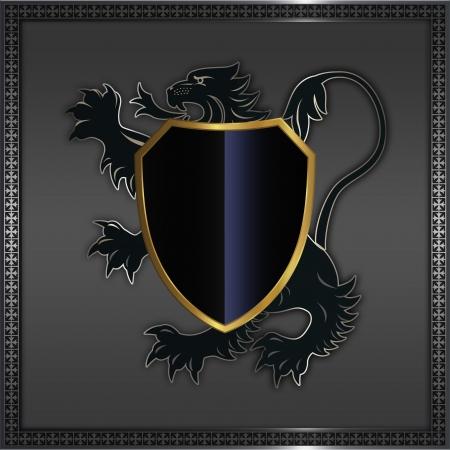 Heraldic lion and shield.