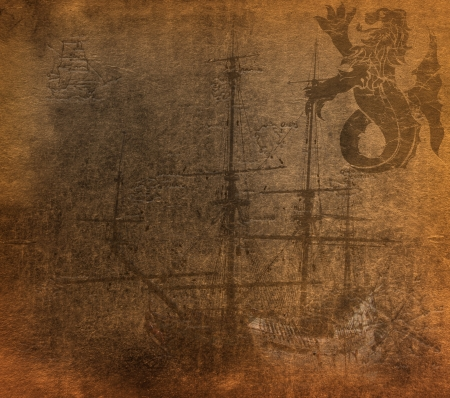 ancient ships: Vintage paper  Stock Photo