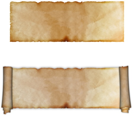 Antique scroll of parchment and sheet of old paper on a white background  photo